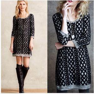 Anthropologie Moth Black Grey Knit Sweater Dress